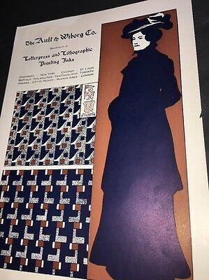 Ault Wiborg Litho Printing INK Poster Sign Original C1900 Blue Lady