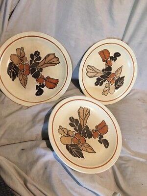 """(Homer Laughlin Dinner Plate 1979 Fall Harvest Leaves & Rocks 10"""" 3-plates)"""