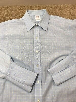 Men's Size 15 1/2 33 Brooks Brothers Dress Shirt Blue Checked French Cuff