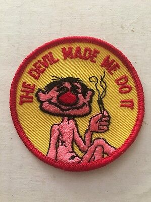 Vintage Patch The Devil Made Me Do It Funny Dobbie 420 Hot Rat Rod Joint 70s NOS