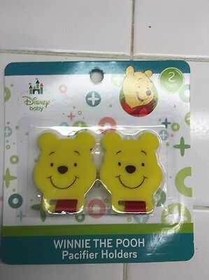 Disney Winnie The Pooh Pacifier Holders Clips 2 Pack