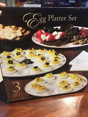DEVILED EGG PLATTERS 3 piece ceramic egg platter set great serving set ALL NIB