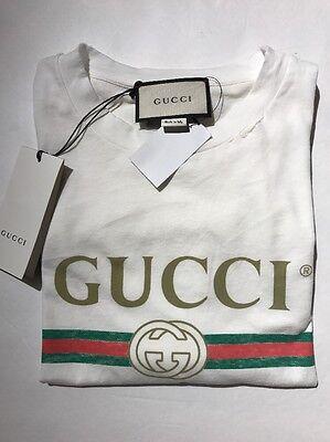Gucci Vintage Spr 1980 Appliquéd Distressed Logo Print White T-Shirt Wms 8 Large
