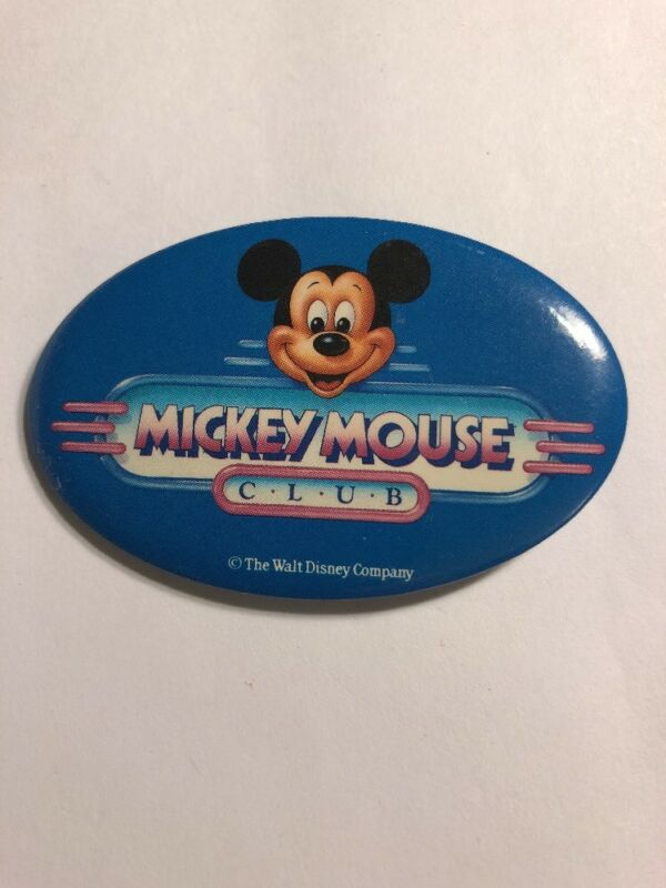 """Vintage Disney Mickey Mouse Club Pin Back Button DS11 Oval 2 3/4"""" $Price Drop"""