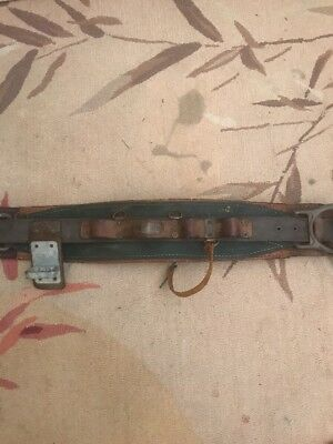 Vintage Linemans Pole Climbing Klein Kord Belt Green Brown Leather