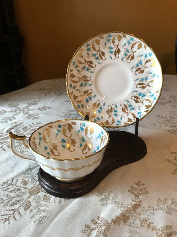 Vintage Royal Chelsea Tea Cup & Saucer Hand Painted Blue / Gold Flowers Perfect