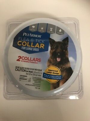 PET ARMOR FLEA & TICK COLLAR FOR LARGE DOGS ~ 2 COLLARS IN TIN