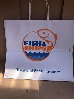 125 Large Fish & Chips Paper Carrier BAG Twisted Handle