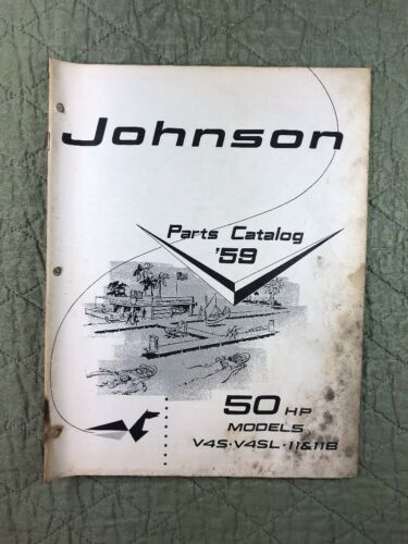 1959 JOHNSON OMC PARTS CATALOG LIST MANUAL 50 HP MODELS P/N 377811 DEALER