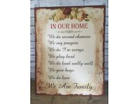 In Our Home Large Metal Wall Plaque 70 X 56cm *Giant Sign*