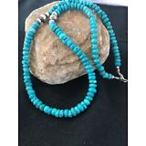 Native American Sterling Silver Turquoise Bead Necklace Pendant 21""
