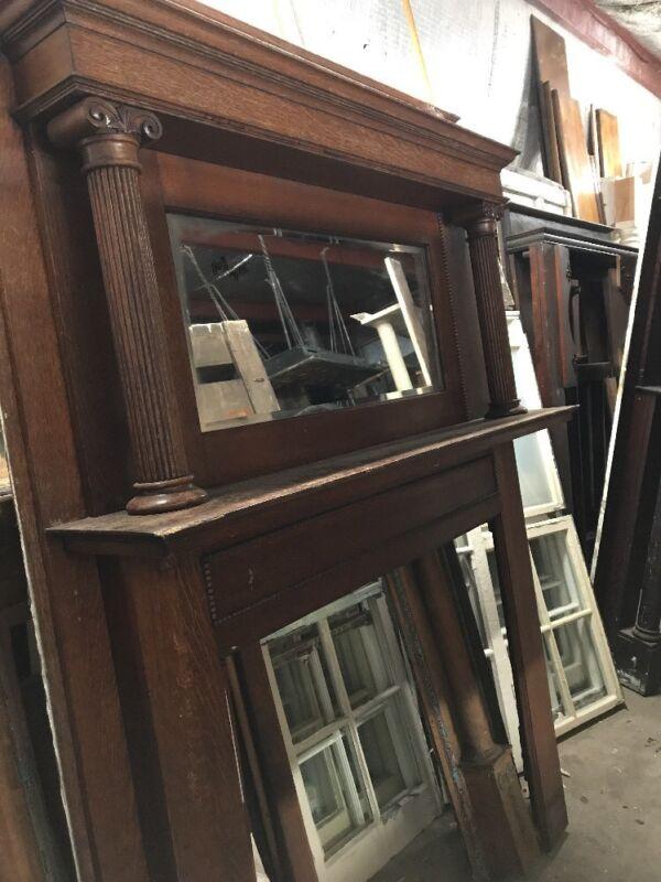 Cm 108 Antique Quartersawn Oak Beveled Glass Fireplace Mantle 60 X 85