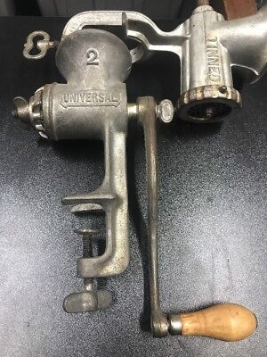 Vintage Universal Meat Grinder No 2 Grain Seeds Mill Solid Cast Iron Heavy blade