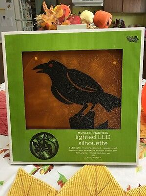 Halloween  Black Crow Raven Silhouette  LED Light  W/ Box - Halloween Crow Silhouette