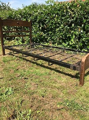 Vintage Antique Wooden Single Bed With Sprung Base yurt camping