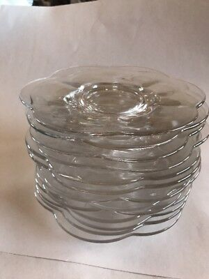 Glass Dish Plates Lot 13 Desert Cake Appetizer Mint Condition Round Design