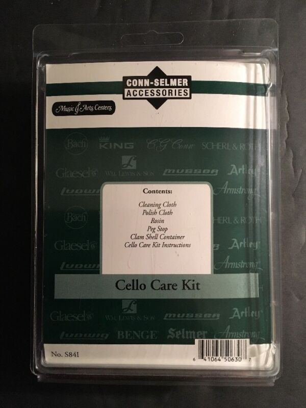 New Sealed Cello Care Kit Conn Selmer Rosin, Peg Stop, Polish Cloth Accessories