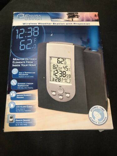 Envira Weather Blue Projection Clock, Alarm DWS-170 NEW Open Box See Condition