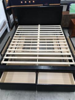 Brand New Built-in 4 Big Drawers PU Leather Bed Double Queen