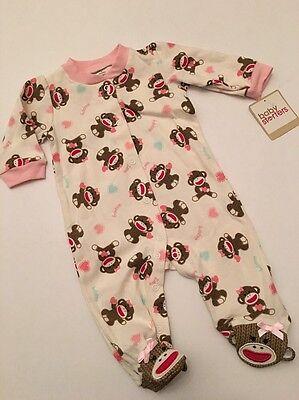 Sock Monkey Baby Girl Coverall Pajamas Size 3 6 9 Months Classic Ivory - Sock Monkey Girl