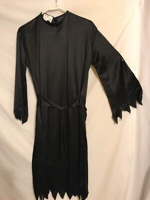 Solid Black Costume Dress Cover Up For Ninja, Reaper Size Child 10-12