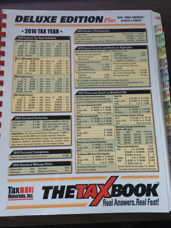 The Tax Book Deluxe  2010  Edition Plus Sm Business  Estates Trusts