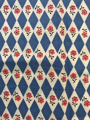 Vintage Feed/Flour Sack Fabric Sml Scale Blue Red Daisy Diamond Harlequin Floral
