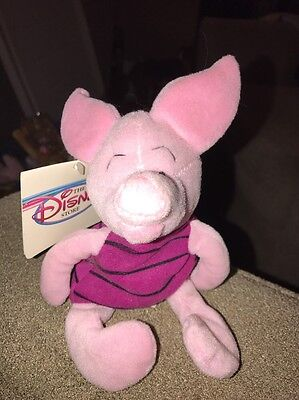 "Disney Store Piglet Winnie the Pooh 8"" bean bag stuffed animal plush toy (KC)"