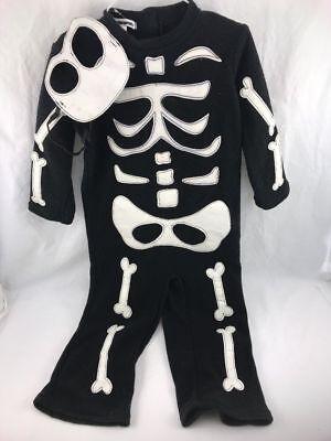 Pottery Barn Teen Kids Skeleton Costume Size 4-6 years Glow In The Dark ~new