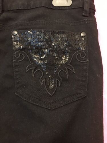 Girls Women's Black Stretch Jeans 30 Inch Waist With Sequin Pockets Fits 12-13yr
