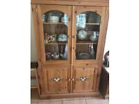 SOLID PINE BESPOKE GLAZED KITCHEN DRESSER HAND PAINTED FLOWERS FREE LOCAL DELIVERY 07486933766