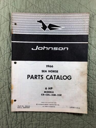 1966 JOHNSON OMC PARTS CATALOG LIST MANUAL 6 HP MODELS P/N 381412 DEALER VINTAGE