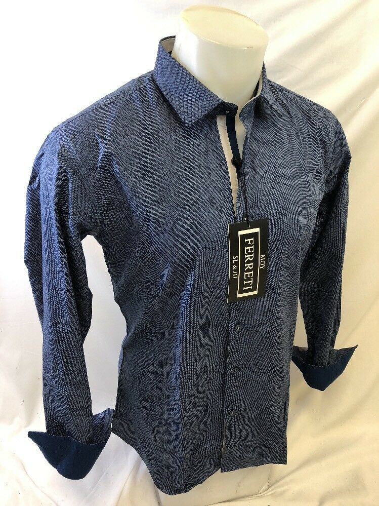 Mens FERRETI By BARABAS Designer Dress Shirt Woven BLUE PAISLEY SLIM FIT 4302