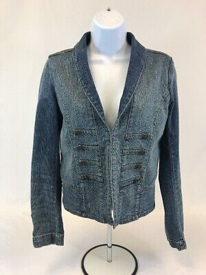 Gap Women's Blue Medium Wash Long Sleeve Hook Closure Denim Jacket Sz -