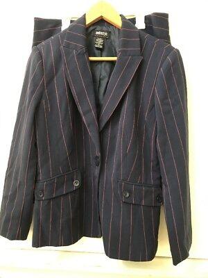 Metro Style Suit Jacket Blazer Skirt 2 pc Womens Lined Blue Pink Stripe Size 8P ()