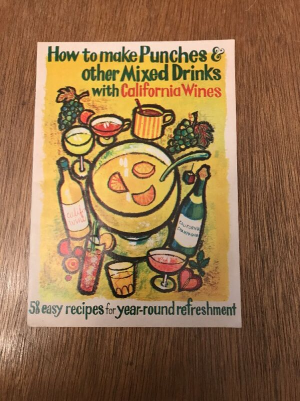 1960s Punches Mixed Drinks Recipe Book Brochure California Wine Cocktail