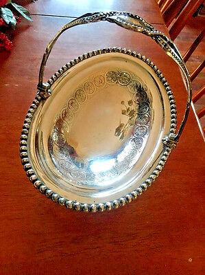 1890s JAMES DIXON & SONS SHEFFIELD Silver Plate Basket Bowl Wedding Bride Flower