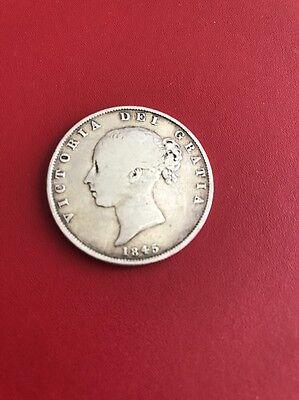 1845 Antique Original BRITISH Silver Coin VICTORIA DEI GRATIA Half-Crown (#42)