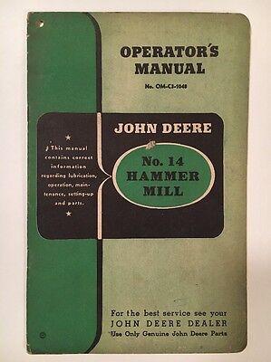 John Deere No 14 HAMMER MILL Operator's Manual OM-C3-1048