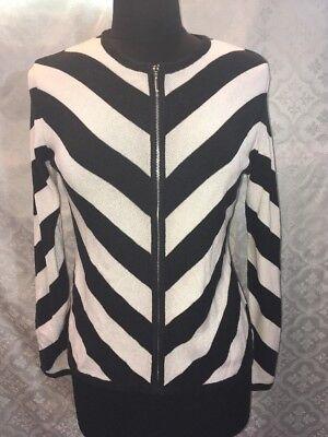 Cardigan Womens Sweater Black And White Chevron Classic Zip Front M (Classic Zip Front Sweater)