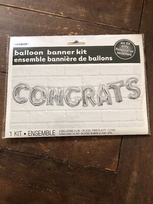 Silver CONGRATS Letter Balloons Banner Kit -Birthday Party Graduation Decor BN8](Congrats Banner)