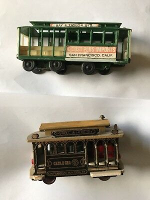 2 Cable Car Collectibles-San Fransisco Fishermans Wharf Icons-plastic,metal,wood