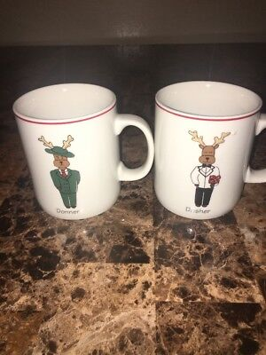 Ltd Commodities    2  Santas Reindeer Design   Coffee Mugs   Christmas Holiday