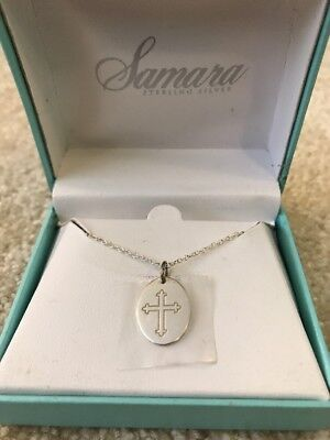 New NIB Samara 925 Sterling Silver Cross Religious Oval Pendant Necklace 18