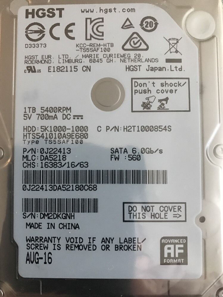 """HGST SATA 1TB 2.5"""" 5400rpm SATA High Speed Notebook Hard Drive NEW-NEW"""