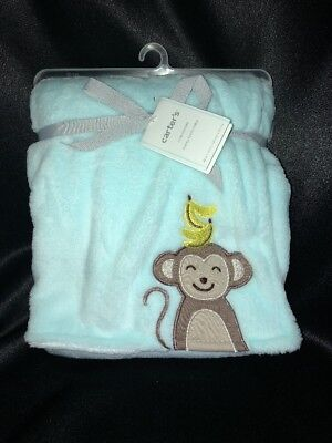 Carter's Mint Green Teal Stripped Monkey Bananas Baby Blanket NWT