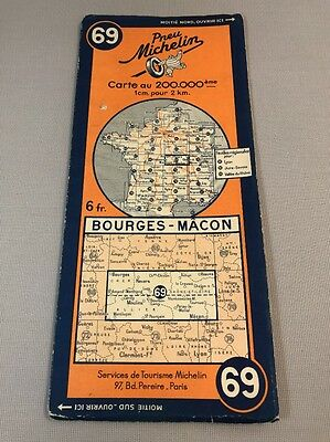 Card Michelin #69 Bourges - Masonic Revised in 1938/Collector Bibendum Vintage
