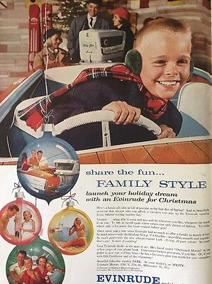 Vintage 1957 EVINRUDE Outboard Motors Boat Christmas Family Ad