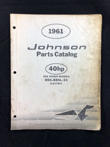 1961 JOHNSON OMC PARTS CATALOG LIST MANUAL 40 HP MODELS P/N 378462 DEALER