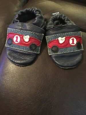 Sho Shoos Baby Leather Crib Shoes Blue Race Car/Denim Accents Siz 0/6 Months